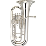 "Yamaha Intermediate Euphonium; key of B..; 4 nickel-plated pistons; .571"" bore; 11"" upright bell; Sd"